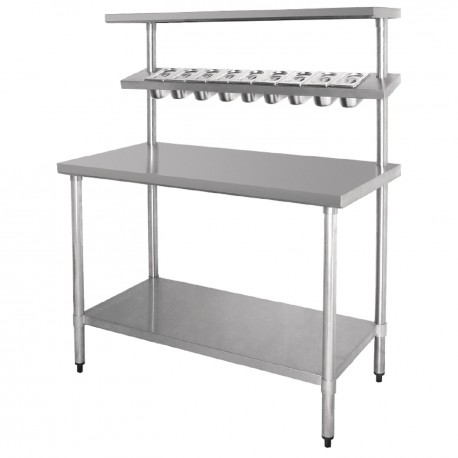 Table en inox avec tag res pour bacs gastro en 1m20 ou 1m80 for Portillon 1m20 de large
