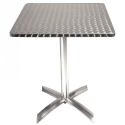 Table carrée plateau basculant en inox anti-rouille
