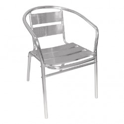 4 Chaises robustes empilables en aluminium