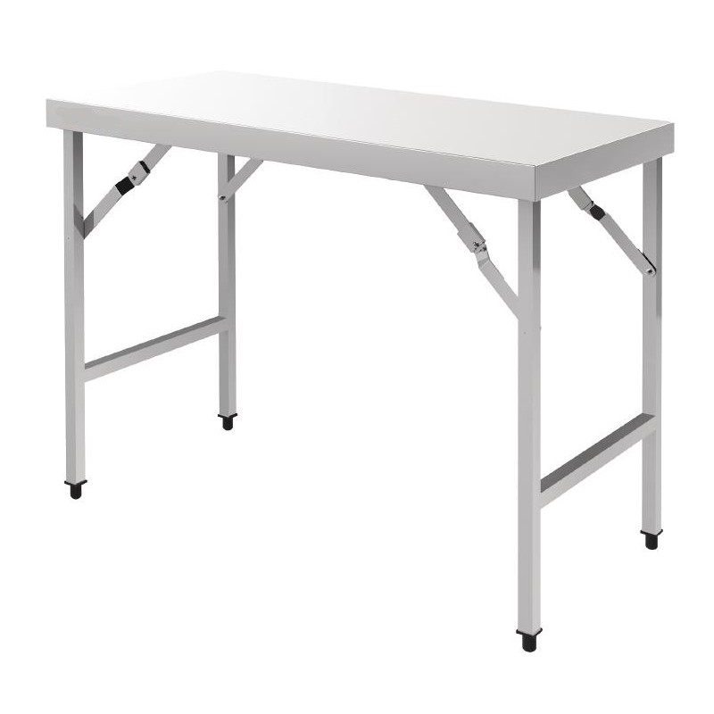 Table pliante en inox longueur 1m20 ou 1m80 - Table de cuisine pliante but ...
