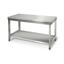 Interesting table en inox centrale cm with plan de travail for Plan travail 90 cm profondeur