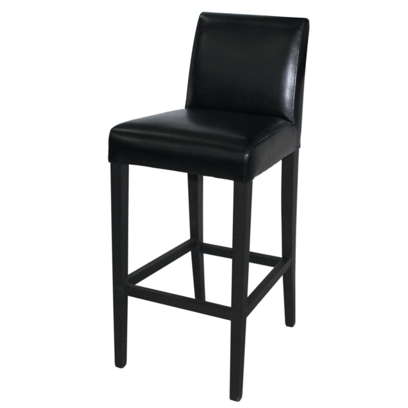 tabouret de bar haut avec dossier en simili cuir. Black Bedroom Furniture Sets. Home Design Ideas